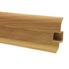 Плинтус напольный 60 мм бук с кабель каналом, матовый (2,5м/шт)