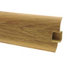 Плинтус напольный 60 мм дуб кубинский с кабель каналом, матовый (2,5м/шт)