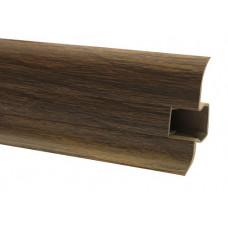 Плинтус напольный 60 мм дуб лион с кабель каналом, матовый (2,5м/шт)
