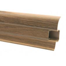 Плинтус напольный 60 мм дуб натуральный с кабель каналом, матовый (2,5м/шт)