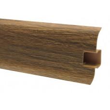 Плинтус напольный 60 мм дуб опаленный с кабель каналом, матовый (2,5м/шт)