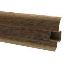 Плинтус напольный 60 мм дуб рустикальный с кабель каналом, матовый (2,5м/шт)