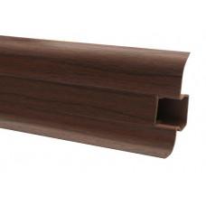 Плинтус напольный 60 мм махонь с кабель каналом, матовый (2,5м/шт)