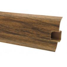 Плинтус напольный 60 мм орех светлый с кабель каналом, матовый (2,5м/шт)