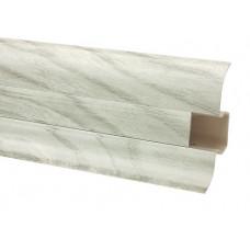 Плинтус напольный 60 мм вяз серебряный с кабель каналом, матовый (2,5м/шт)