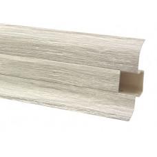 Плинтус напольный 60 мм ясень с кабель каналом, матовый (2,5м/шт)